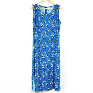 Disney Blue Mickey & Minnie Mouse Print Maxi Dress